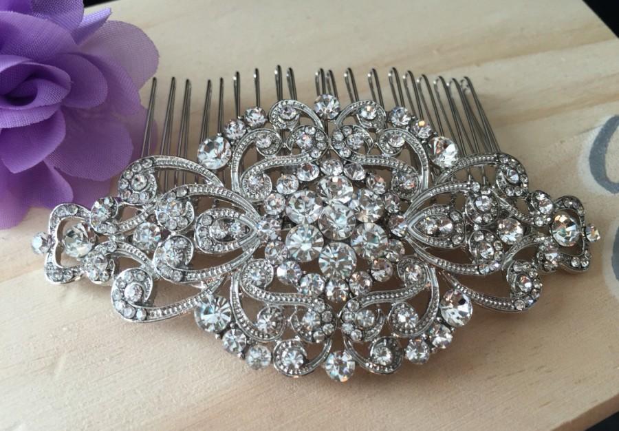 Mariage - Wedding Comb, Bridal Comb, Bridal Rhinestone Comb, Crystal Vintage Comb, Swarovski Comb, Bridal Crystal Comb, Bridal Hair Comb,