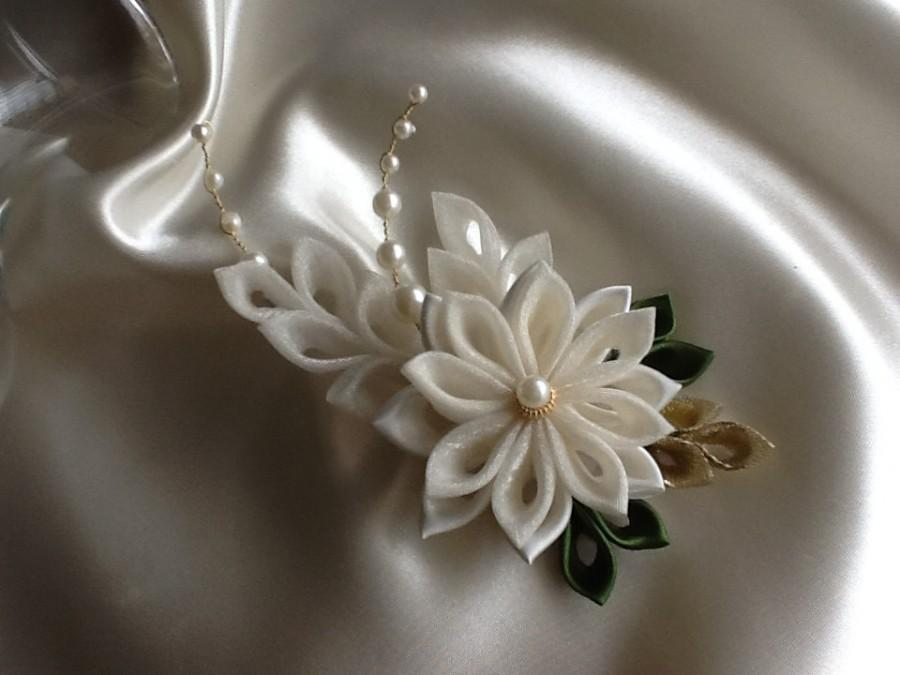 Wedding - Hair Clip - Ivory Kanzashi Flower With Pearls - Bridal Hair Flowers Wedding Flowers