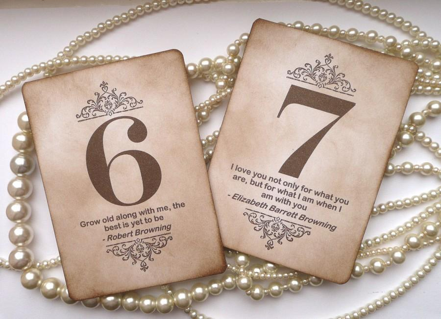 Wedding - Wedding Table Numbers, Vintage Table Numbers, Quotes Table Numbers, Amaretto Wedding, Vintage Wedding Signs, Wedding Place Cards, Favor Tags