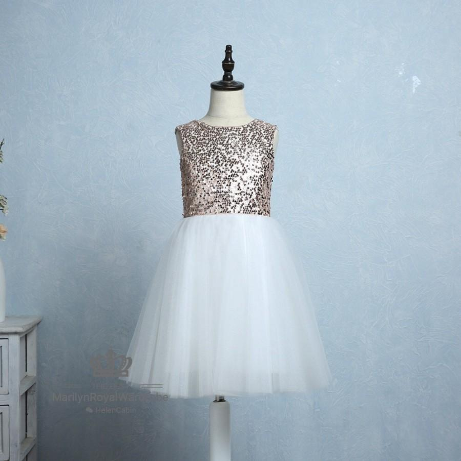 Mariage - Ivory Lace Tulle Flower Girl Dress Rose Gold Sequin Wedding Junior Bridesmaid Party Dress Knee Length