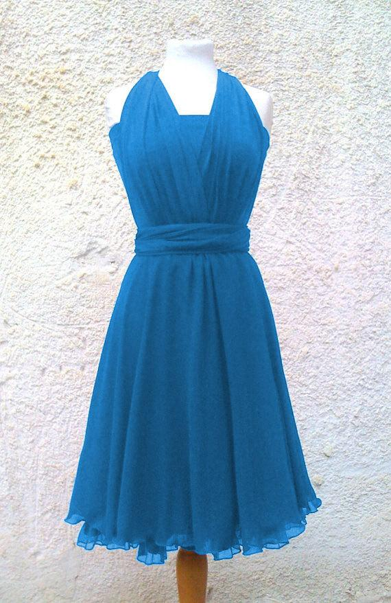 Boda - Tailored to Size & Length Infinity Dress two layers with chiffon in blue turquoise color  Convertible/Infinity Dress