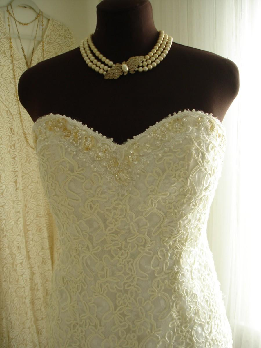 Wedding - Beaded Lace Sweetheart Neckline Short Length Wedding/Bridal Dress