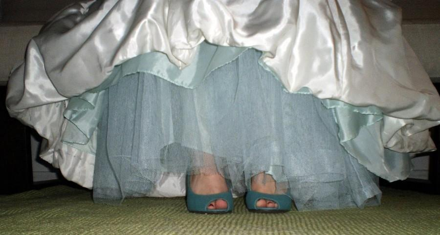 Mariage - Aqua Blue Crinoline -- Tulle Skirt  -- A Line, Extra Full, Mermaid----  Pink, Green, Yellow, Purple, Blue MORE COLORS AVAILABLE