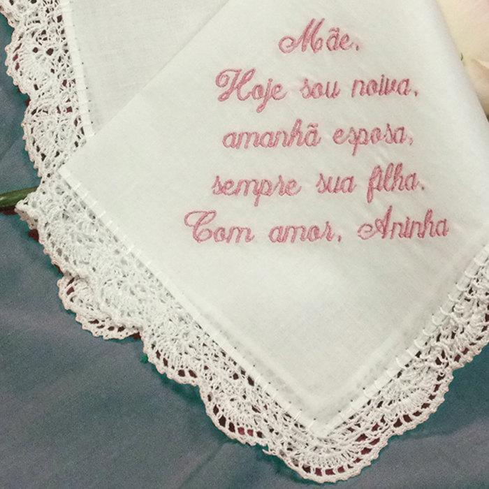 Mariage - Personalized Wedding Handkerchief Portuguese Hankie Embroidered No. 401