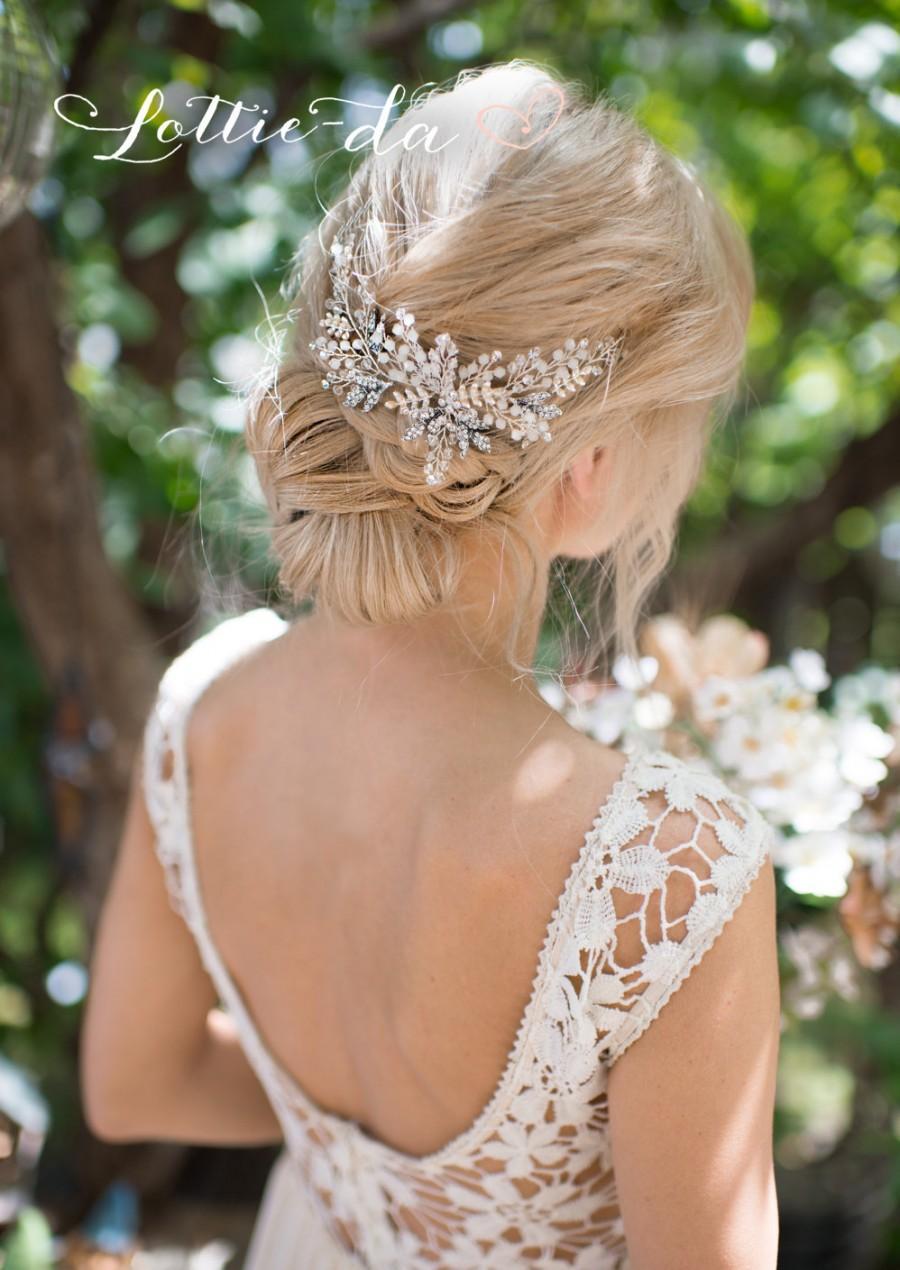 زفاف - Antique Silver Boho Headpiece, Opal Flower Hair Crown, Gold, Antique Gold, Antique Silver Hair Vine Wreath, Wedding Headband - 'ZOYA'