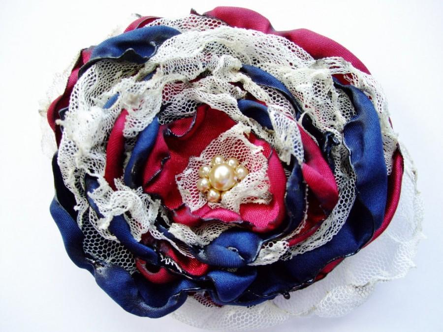 Mariage - Navy Blue and Red Flower Accessory,Wedding Hair Flower, Bridal Sash, Maternity Sash, Bridal Hair Piece, Fourth of July Flower