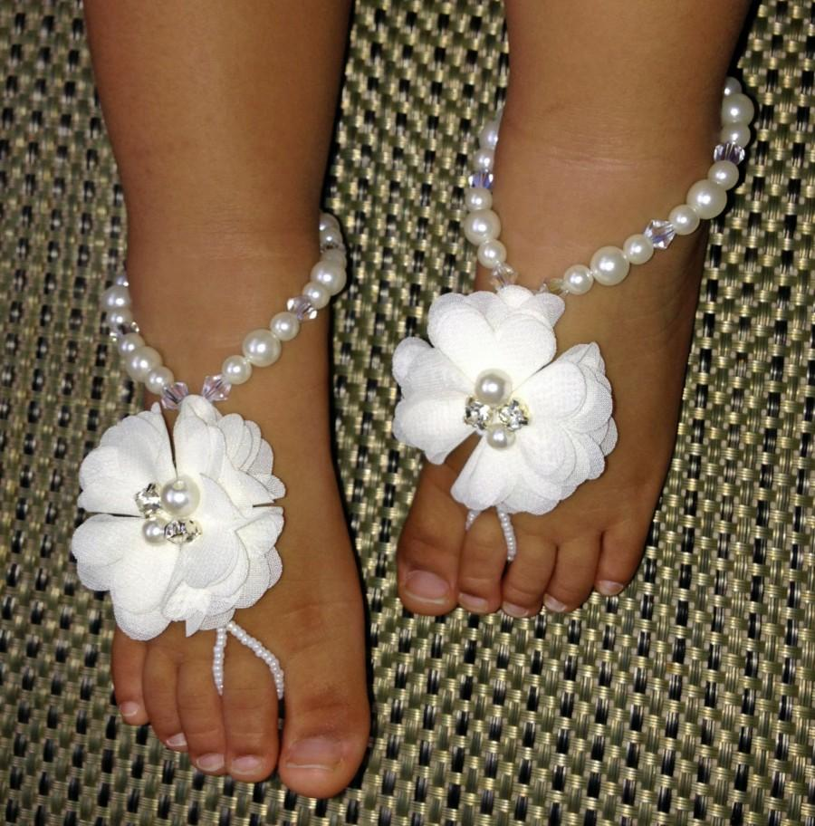 Mariage - Baby Barefoot Sandals, Flower Girl Barefoot Sandals, Christening Sandals, Baby Shower Gift, Kids Barefoot Sandals, Baptism Sandals