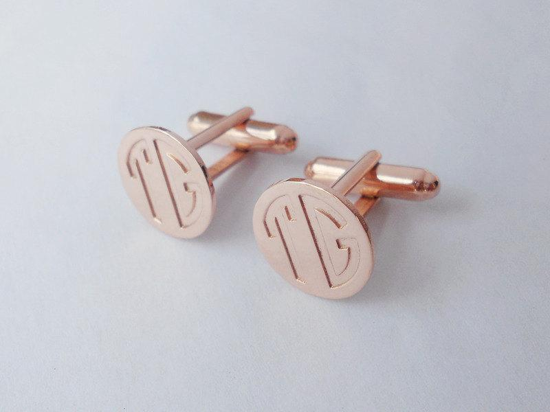 Mariage - Elegant Monogrammed Cufflinks,Personalized Wedding Cufflinks,Rose Gold Two Initials Cufflinks,Block Letter Monogram CuffLinks, Men CuffLinks