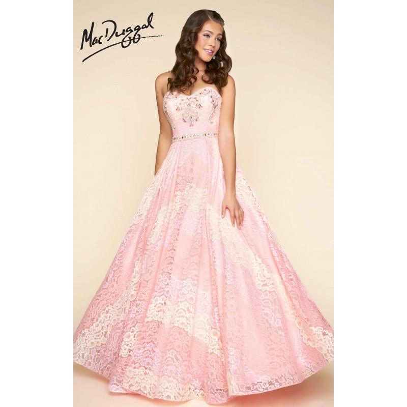 Peach Parfait Mac Duggal 11076H - Ball Gowns Long Lace Dress ...