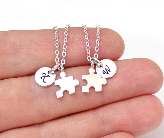 Wedding - Set of Gold or Silver Best Friends, Puzzle Piece Necklaces, Silver BFF Puzzle Piece Charms, Initial Necklace,Personalized Stamped Initial