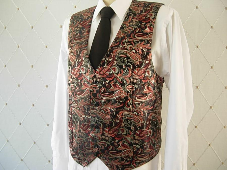 Wedding - Men's Vest, Brocade, Black Vest, Wedding Vest, Groom Vest, Groomsmen Vest, Men's Waistcoat, Men's Suit, Businessman Vest, Men's Brocade Vest