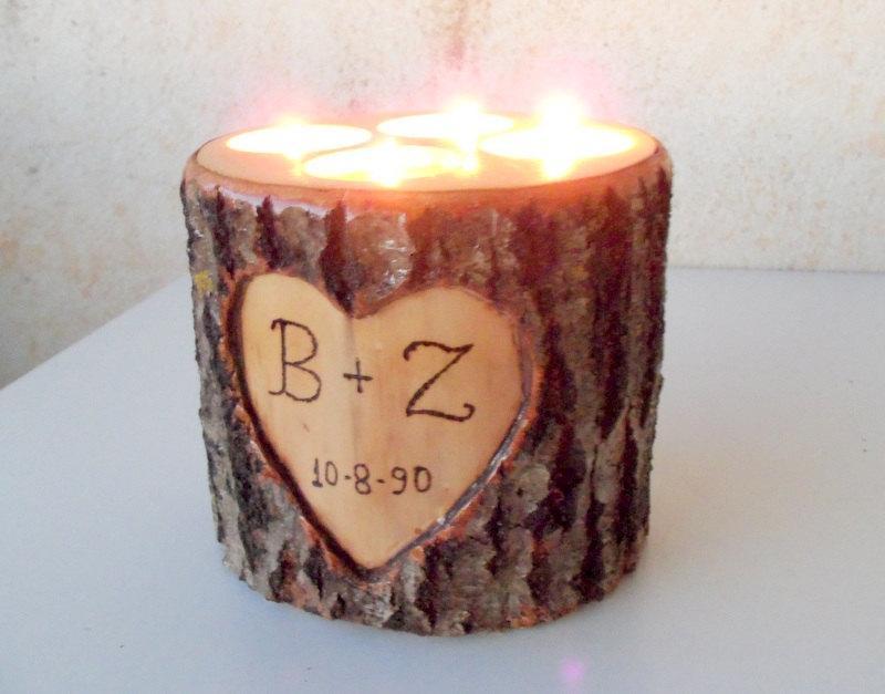 Mariage - Wood Stump Candle Holder -Candle Holder with 4 Tea Light Spots - Wood Stump Holder - White Tree Candle Holder - Wedding Decoration