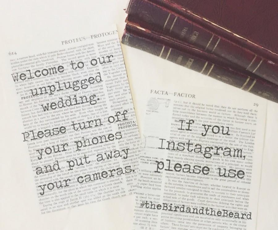 Mariage - Literary Wedding Instagram Hashtag Sign 5x7 / Unplugged Wedding Sign / Encyclopedia Vintage Book Page Sign