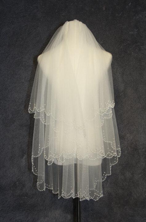 Hochzeit - 2T bridal veil, new hand-string pearl veil,