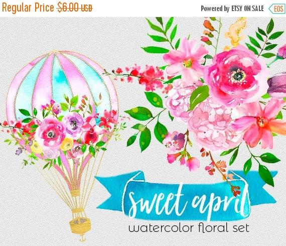 Свадьба - 1 day 40% off Hurry Pink Watercolor Flowers Hot Air Baloon Clipart Set Wedding Floral Clip Art Digital Florals DIY Invitation Nursery Printa