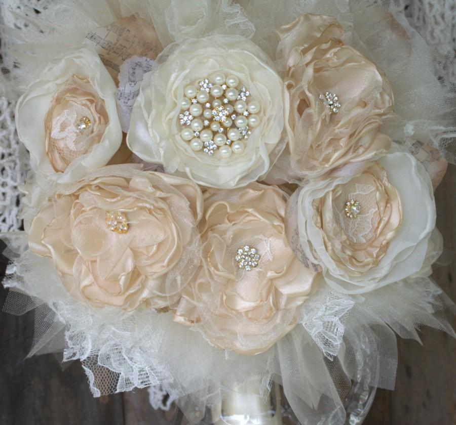 Hochzeit - Bridal Brooch Bouquet,Fabric Flower Bouquet, Gold Champagne Bouquet, wedding flowers, fabric bouquet, bride bouquet