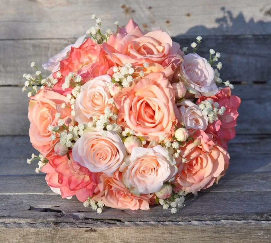 Свадьба - Peach Rose Wedding Bouquet, Silk Flower Bouquet made with Coral Roses, Peach Roses, Coral Dahlia's and Ivory Baby Breath.