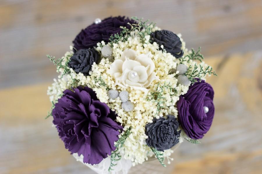 Mariage - Bridesmaids Bouquet,Purple, Charcoal Grey, Violet Sola Flower Bouquet, Handmade Bouquet, Keepsake Bouquet, Alternative Bouquet