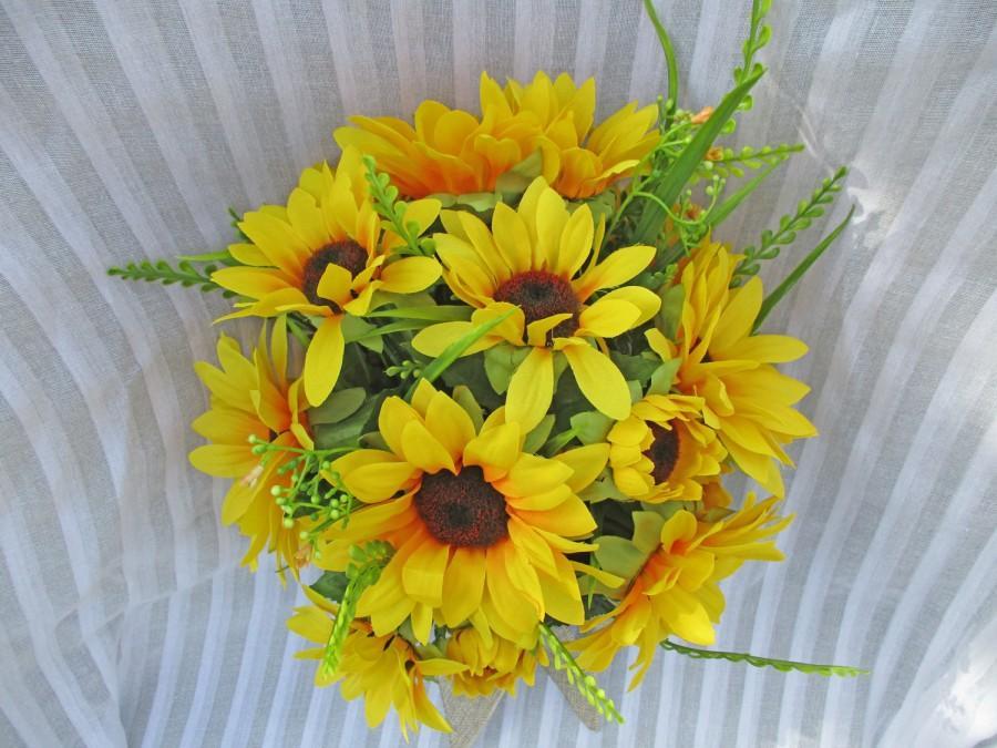 Свадьба - Rustic Sunflower Bouquet, Country Sunflower Bouquet, Sunflower Bouquet, Sunflower with Jute Ribbon, Sunflower and Greens, Yellow Bouquet