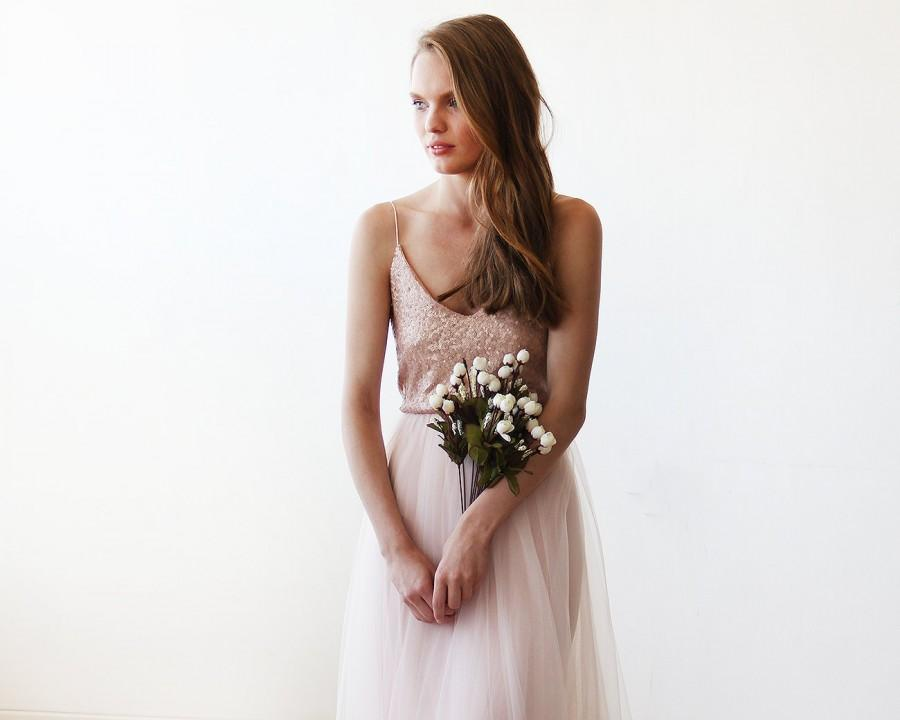 Wedding - Strappy Pink Sequin and Tulle Maxi Gown 1120