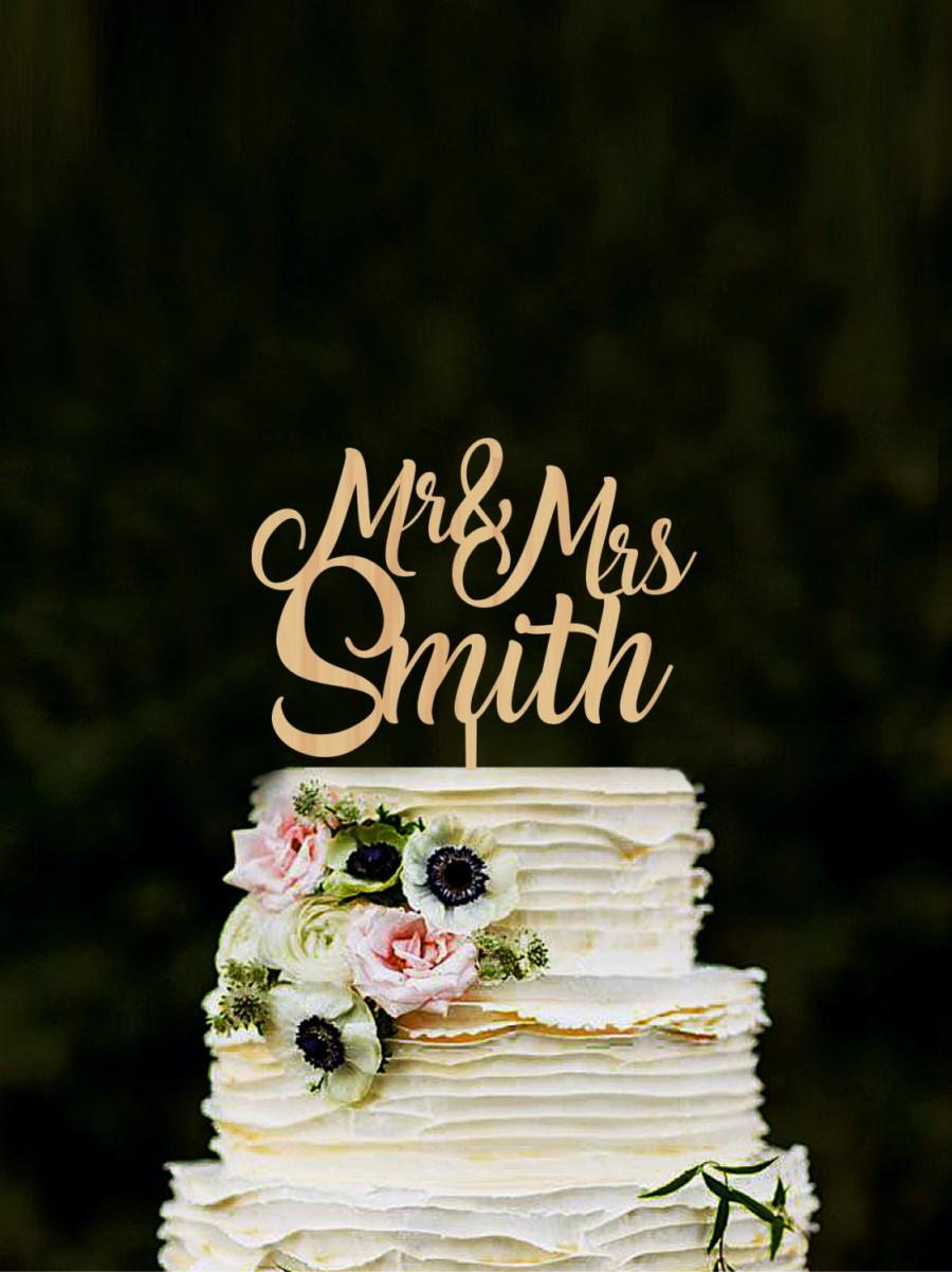 Wooden Wedding Name Cake Topper