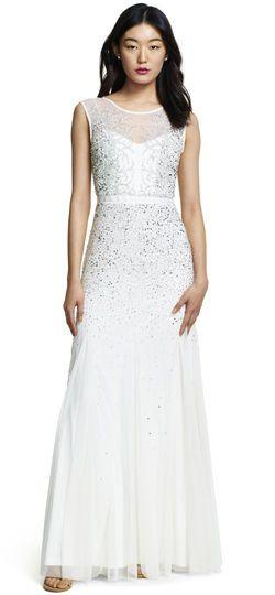 Mariage - Long Beaded Gown With Illusion Neck