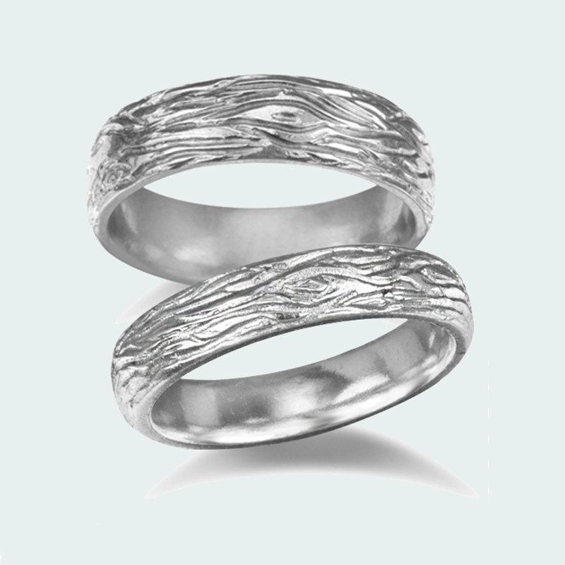 Mariage - Wedding band set - 14k white gold - Wood bark wedding rings