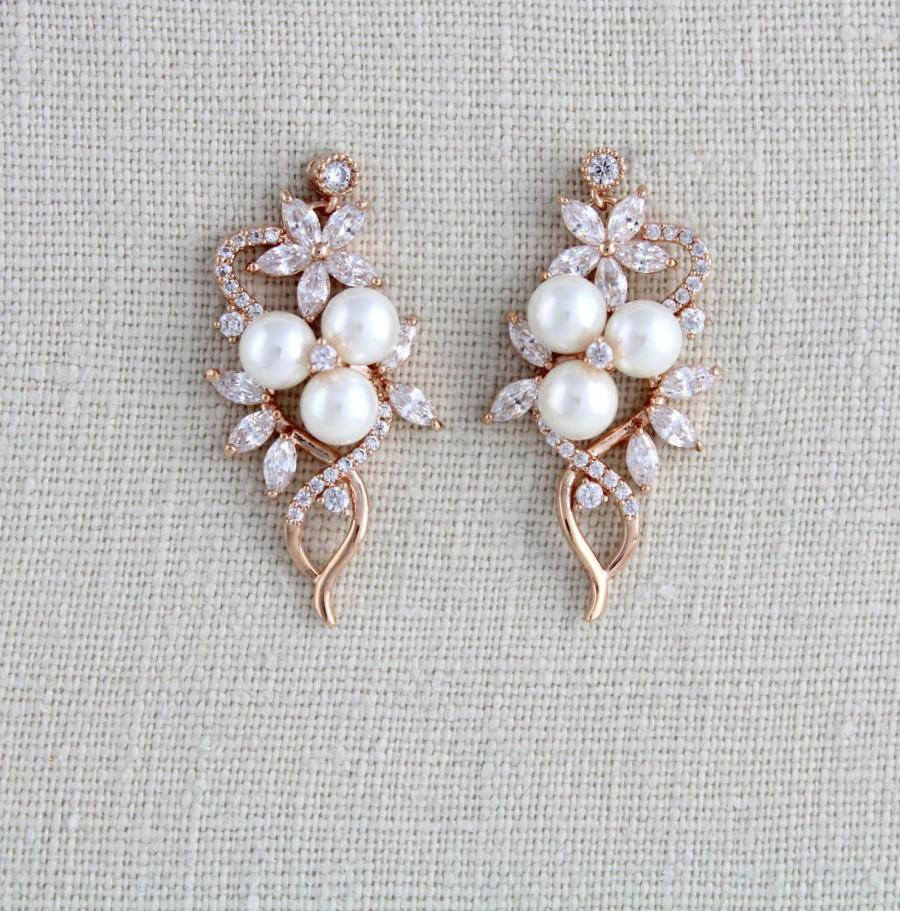 Crystal Bridal Earrings, Rose Gold Earrings, Bridal Jewelry, Pearl ...