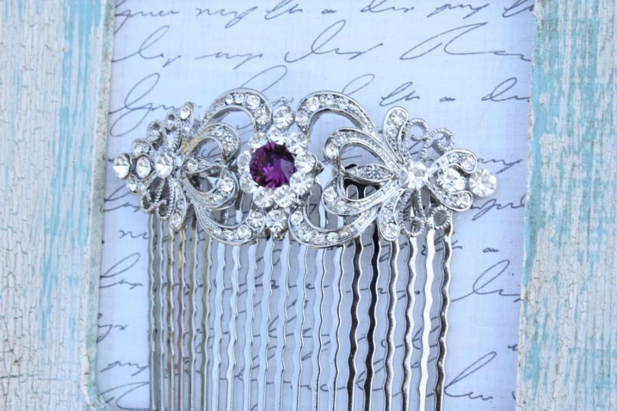 Mariage - dark purple amethyst lavender silver swarovski crystal rhinestone bridal hair comb art deco wedding head piece headpiece vintage inspired
