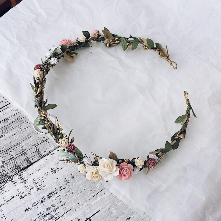 زفاف - Bridal rustic crown, Bridal leaf crown, Bridal headband, flowergirl crown, bridal floral crown, woodland halo, bridal wreath, flower crown