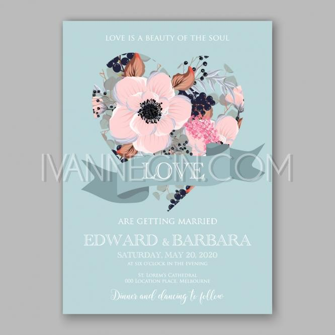 Boda - Anemone wedding invitation card printable template - Unique vector illustrations, christmas cards, wedding invitations, images and photos by Ivan Negin