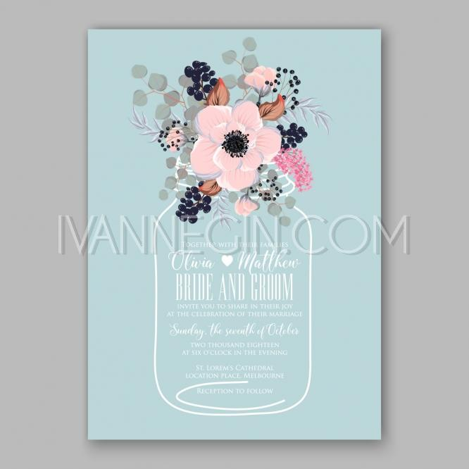 Свадьба - Anemone wedding invitation card printable template - Unique vector illustrations, christmas cards, wedding invitations, images and photos by Ivan Negin