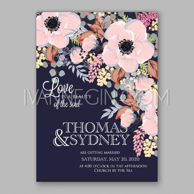 Mariage - Anemone wedding invitation card printable template - Unique vector illustrations, christmas cards, wedding invitations, images and photos by Ivan Negin