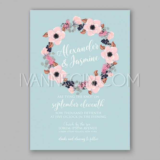 Wedding - Anemone wedding invitation card printable template - Unique vector illustrations, christmas cards, wedding invitations, images and photos by Ivan Negin