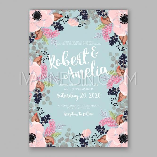 Boda - Anemone wedding invitation card printable template - Unique vector illustrations, christmas cards, wedding invitations, images and photos by Ivan Negin