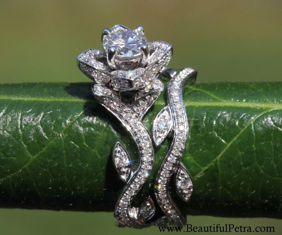 Свадьба - Platinum - BLOOMING Work Of Art - Flower Leaf Rose Lotus Diamond Engagement Wedding Ring Set - No Milgrain - brides - fL07 - Patented design