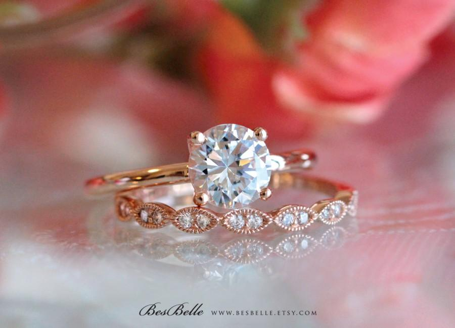 Свадьба - 1.42 ct.tw Bridal Ring-Round Solitaire Engagement Ring-W/ All, Half Eternity Band Ring-Rose Gold Plated-Sterling Silver [61333RG-2]