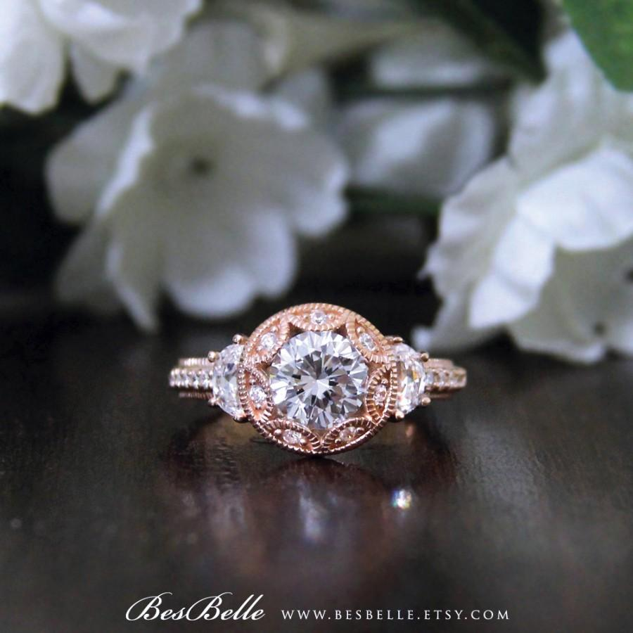Wedding - 2.0 ctw Art Deco Engagement Ring-Brilliant Cut Diamond Simulant-Bridal Ring-Vintage Style Ring-Rose Gold Plated-Sterling Silver [7119RG]