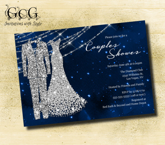 Mariage - Navy and Silver Couples Shower Invitation Bridal Shower Invitation Printable Bridal Shower Diamond Invitation Printed Invites Bride Groom