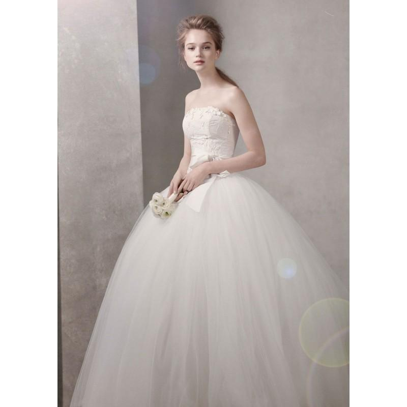 Taffeta ball gown with floral embroidery on bodice vera for Affordable vera wang wedding dresses