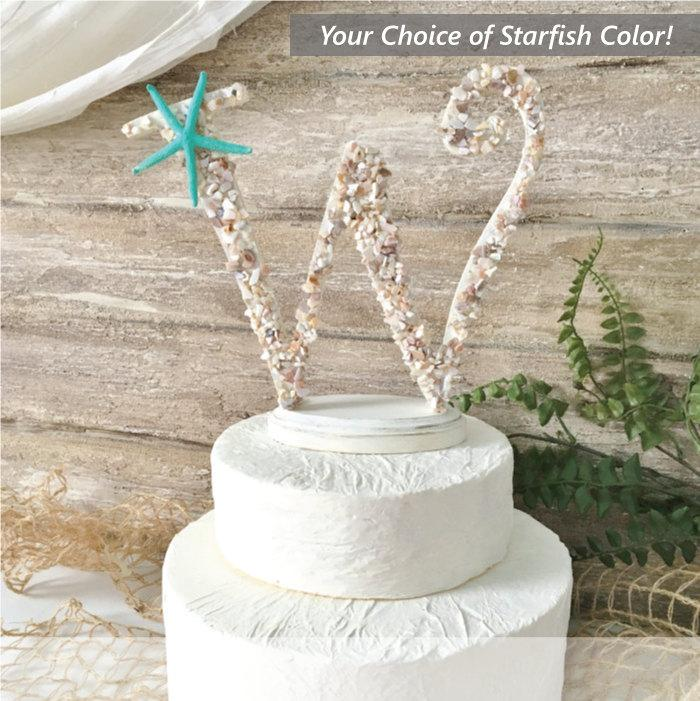 Beach Wedding Cake Topper Starfish Cake Topper Seashell