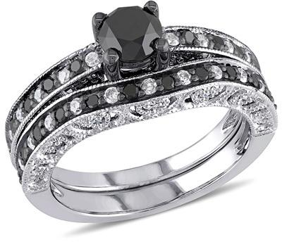 Hochzeit - 1-1/4 CT. T.W. Enhanced Black and White Diamond Vintage-Style Bridal Set in Sterling Silver