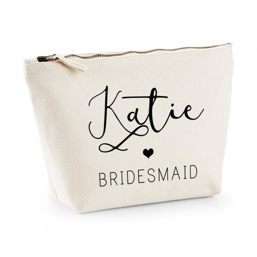 Boda - Personalised Stylish Handwritten Bridesmaid Makeup Bag - Wedding cosmetic bag - Gifts for the Bride - Accessory Bag