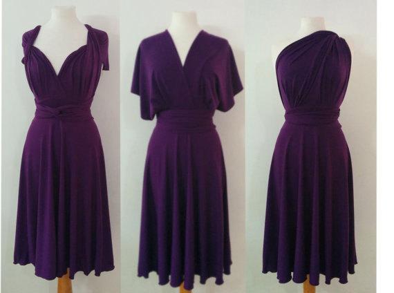 Mariage - Plum purple infinity dress Bridesmaids dress  Convertible Dress
