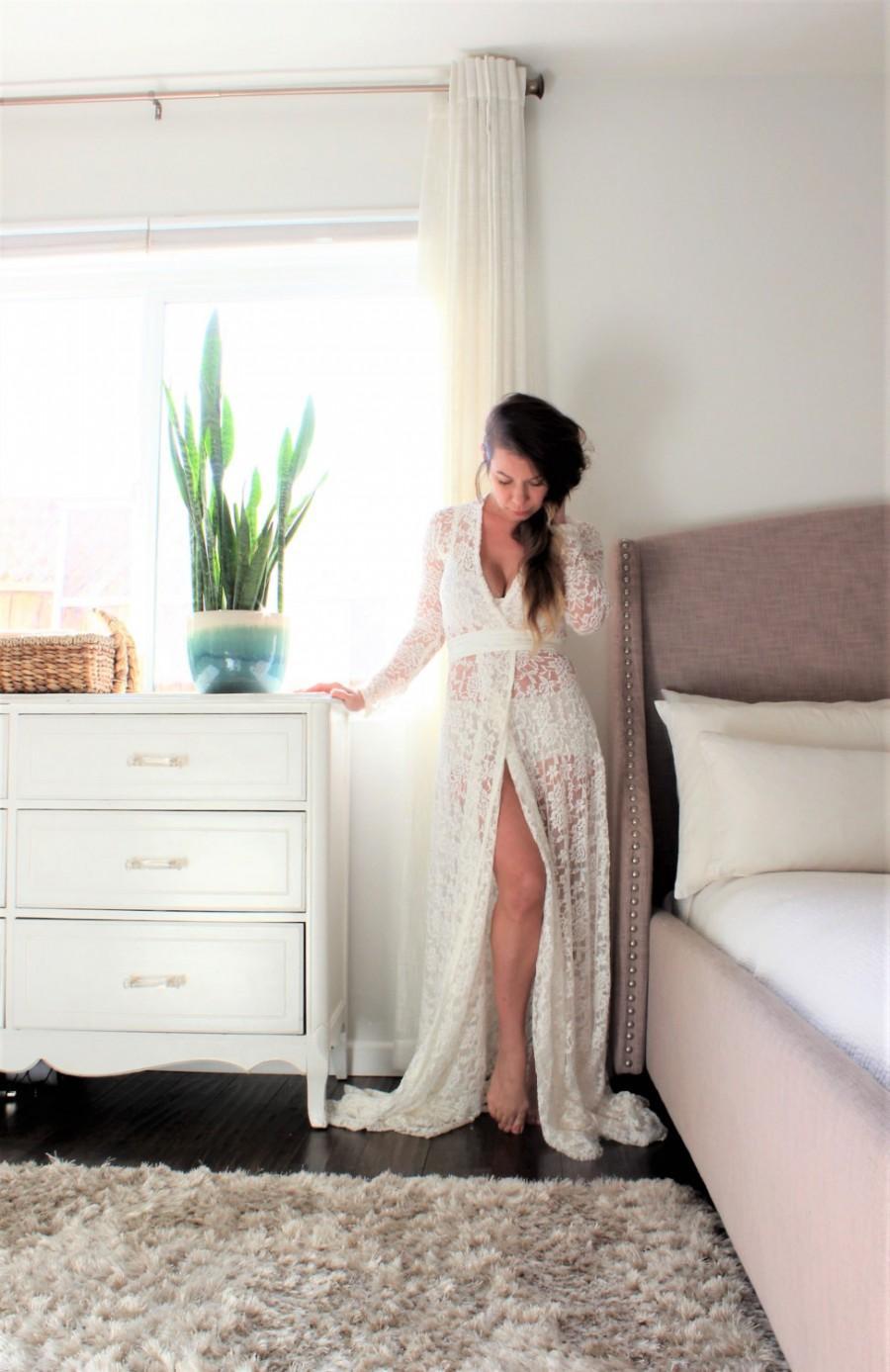 Wedding - wedding dress bohemian long sleeve wrap dress open robe