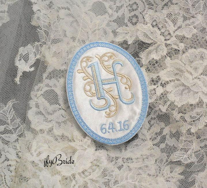 Mariage - Something Blue Wedding Gown Label, Wedding Gown Patch, Wedding Dress Monogram Patch, Something Blue for the Bride, jfyBride, Style 1006