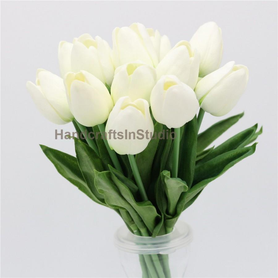 Pu Real Touch Tulips Cream White Tulip 30 Flowers For Wedding Flower