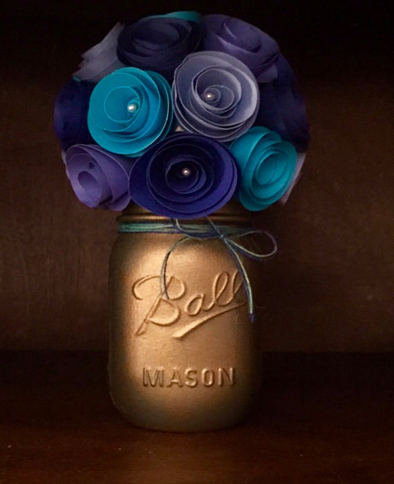 Wedding - Rustic shades of blue Paper Flower Bouquet- Hand Painted Gold Mason Jar!