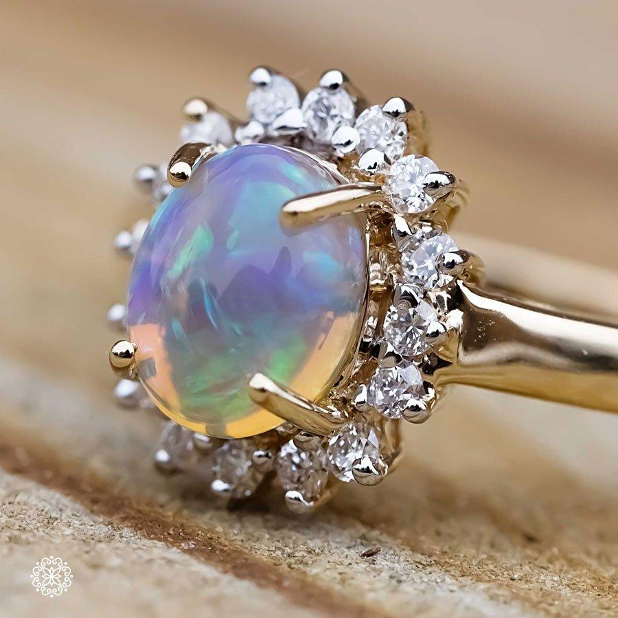 Fantastic Oval Australian Opal Diamond Engagement Ring 18k Yellow Gold