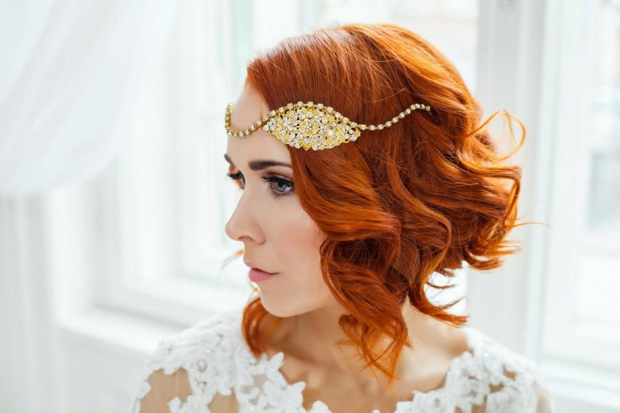 Düğün - Golden bridal vintage hair piece, Wedding 20s headpiece, Bridal gold art deco headband, Gold flapper bridal hairpiece head band, Gold wreath
